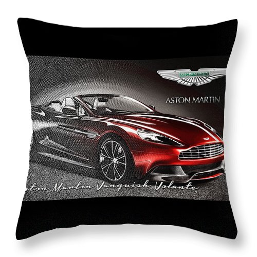 �wheels Of Fortune� Collection By Serge Averbukh Throw Pillow featuring the photograph Aston Martin Vanquish Volante by Serge Averbukh