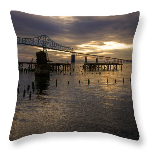 Landscape Throw Pillow featuring the photograph Astoria-megler Bridge 2 by Lee Santa
