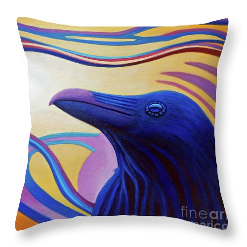 Raven Throw Pillow featuring the painting Astral Raven by Brian Commerford