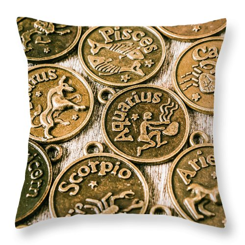 Star Signs Throw Pillow featuring the photograph Astrology Charms by Jorgo Photography - Wall Art Gallery