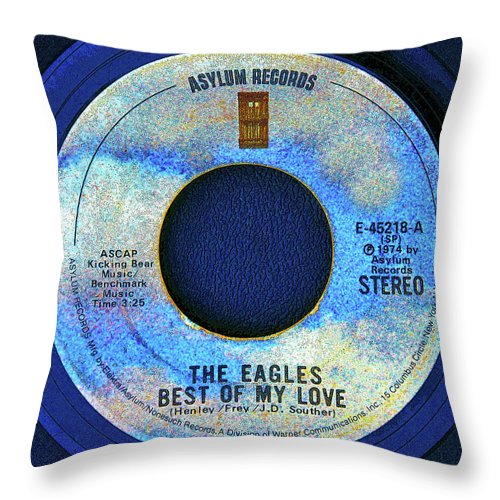 Record Throw Pillow featuring the digital art asylum Records and the Eagles by David Lee Thompson