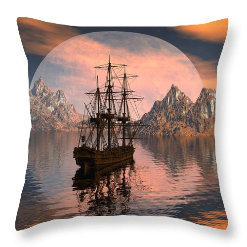 Bryce 3d Digital Fantasy Scifi Windjammer Sailing Throw Pillow featuring the digital art At Anchor by Claude McCoy