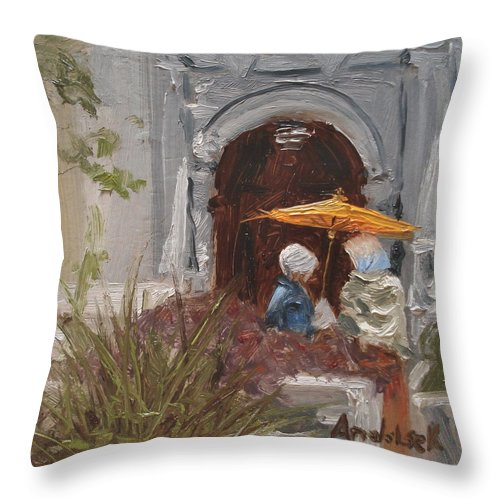 Parks Throw Pillow featuring the painting At Balboa Park by Barbara Andolsek