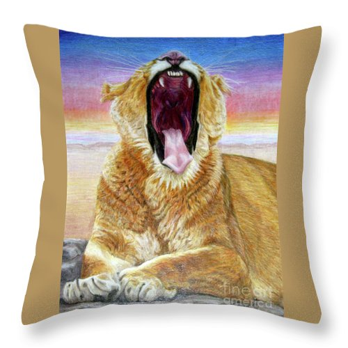 Wildlife Throw Pillow featuring the drawing At Days End by Beverly Fuqua