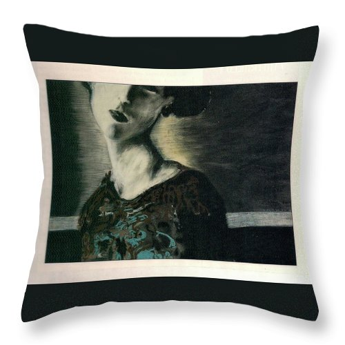 Female Throw Pillow featuring the drawing At Her Gaze by Mykul Anjelo