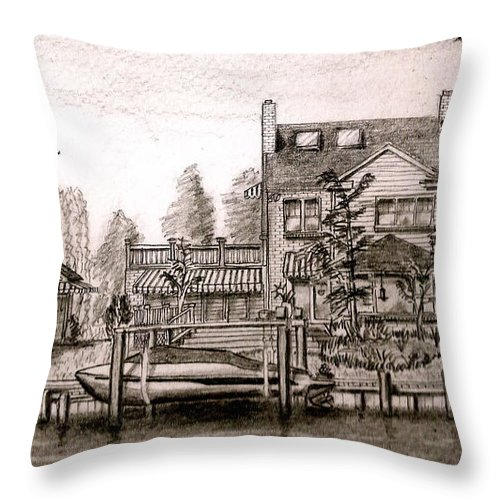 House Throw Pillow featuring the drawing At Home On The River by Vic Delnore