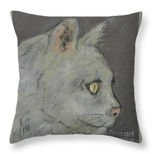 Pastels Throw Pillow featuring the drawing At Peace by Cori Solomon