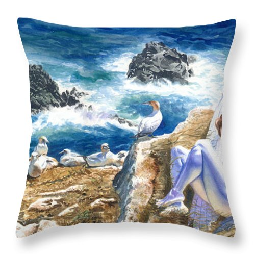 Women Throw Pillow featuring the painting At Rest by Ken Meyer jr