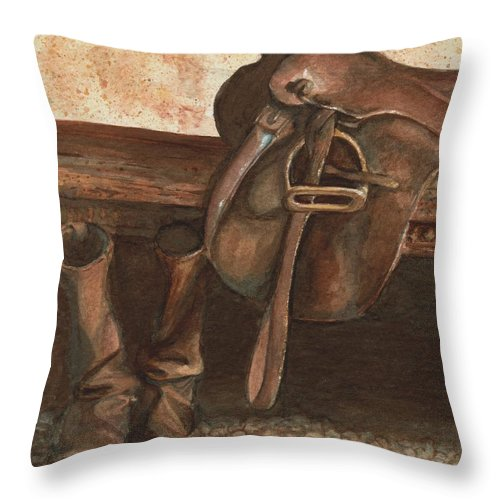 Saddle Throw Pillow featuring the painting At Rest by Mona Davis
