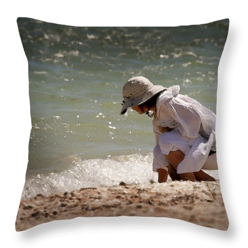 Seashore Throw Pillow featuring the photograph At The Beach Watercolor by Joseph G Holland