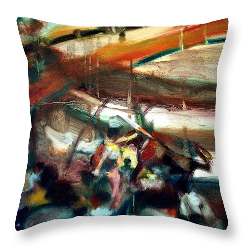 Dornberg Throw Pillow featuring the painting At The Bull Ring by Bob Dornberg