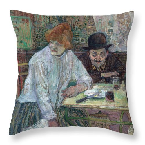 Table Throw Pillow featuring the painting At The Cafe La Mie About 1891 by Henri De Toulouse Lautrec
