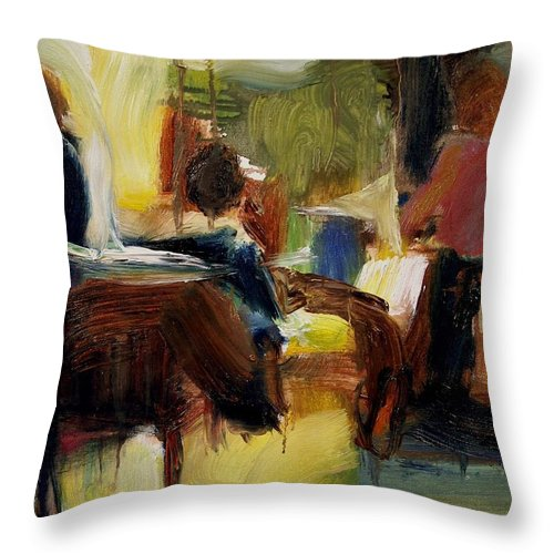 Dornberg Throw Pillow featuring the painting At The Credit Loan Desk by Bob Dornberg