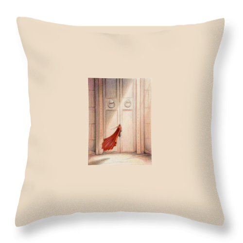 Magic Throw Pillow featuring the drawing At The Door by Amy S Turner