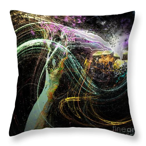 Fantasy Throw Pillow featuring the painting At The End Of The Cosmos by Miki De Goodaboom
