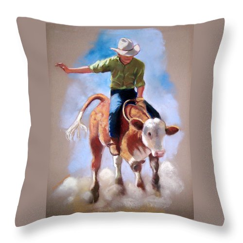 Rodeo Throw Pillow featuring the pastel At The Rodeo by Joyce Geleynse