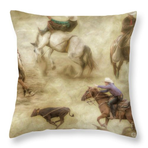 At The Rodeo Throw Pillow featuring the digital art At The Rodeo by Randy Steele