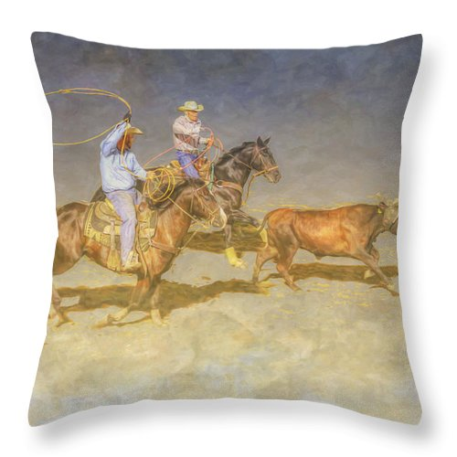 At The Rodeo Team Calf Roping Throw Pillow featuring the digital art At The Rodeo Team Calf Roping by Randy Steele