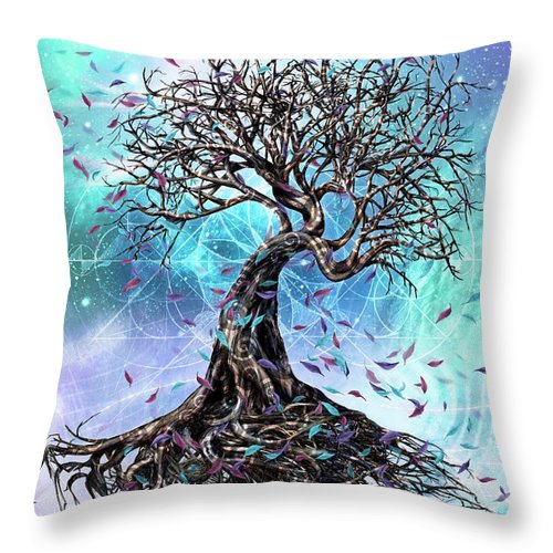Tree Throw Pillow featuring the mixed media At the Root of All Things by Chris Cole