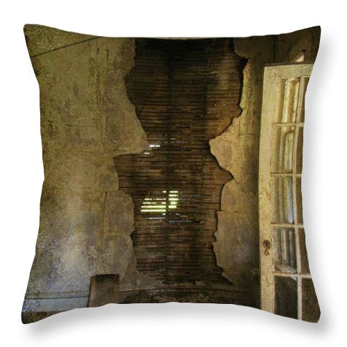 Abandoned Throw Pillow featuring the photograph At The Seams by Jessica Brawley