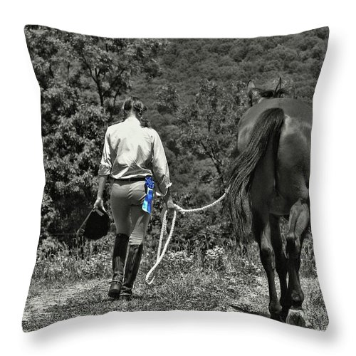 Horse Throw Pillow featuring the photograph At The Show Blue Ribbon by JAMART Photography