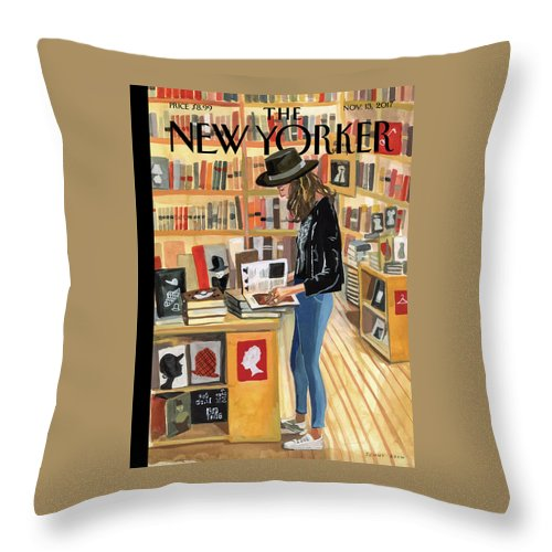 At The Strand Throw Pillow featuring the painting At The Strand by Jenny Kroik