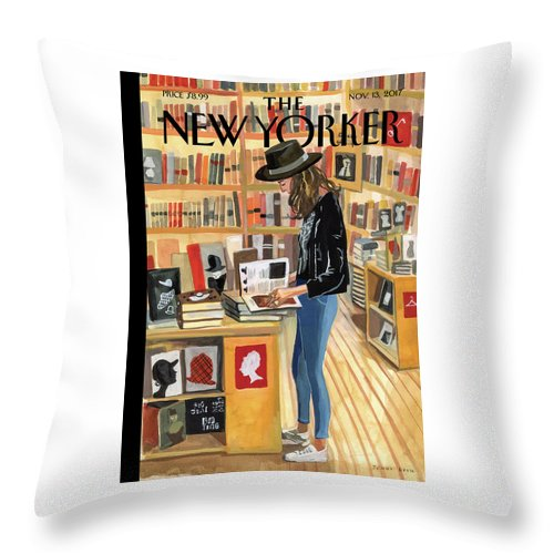 At The Strand Throw Pillow featuring the digital art At The Strand by Jenny Kroik