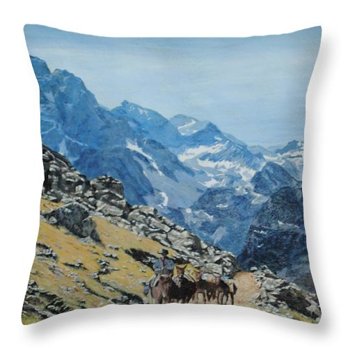 Colorado Throw Pillow featuring the painting At The Summit by Paul Larson