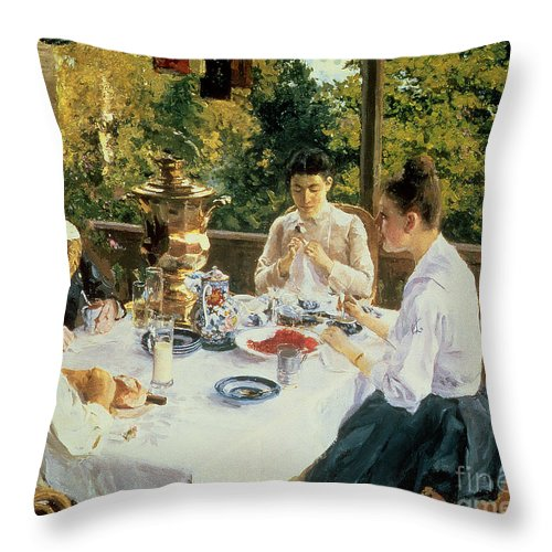 The Throw Pillow featuring the painting At the Tea-Table by Konstantin Alekseevich Korovin