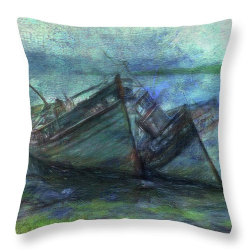 Rotting Hulls Throw Pillow featuring the digital art At The Water's Edge by Sarah Vernon