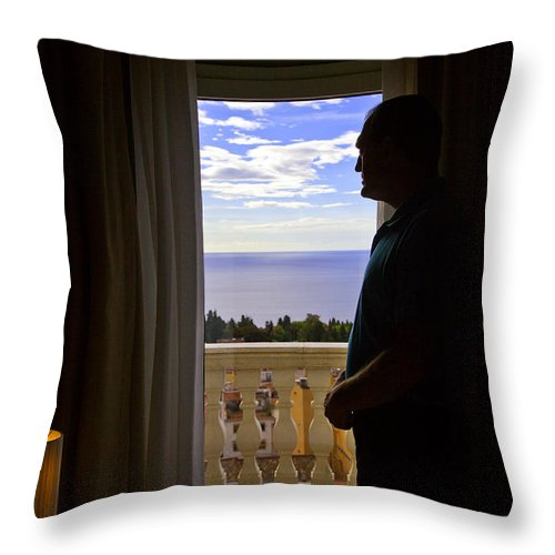 Window Throw Pillow featuring the photograph At The Window In Taormina by Madeline Ellis
