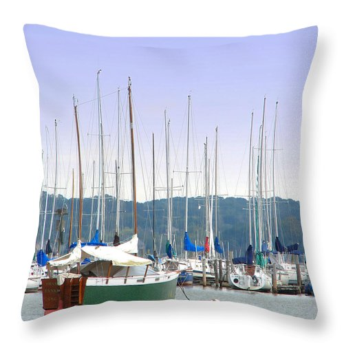 Seascape Throw Pillow featuring the photograph At The Yacht Club by Todd Blanchard