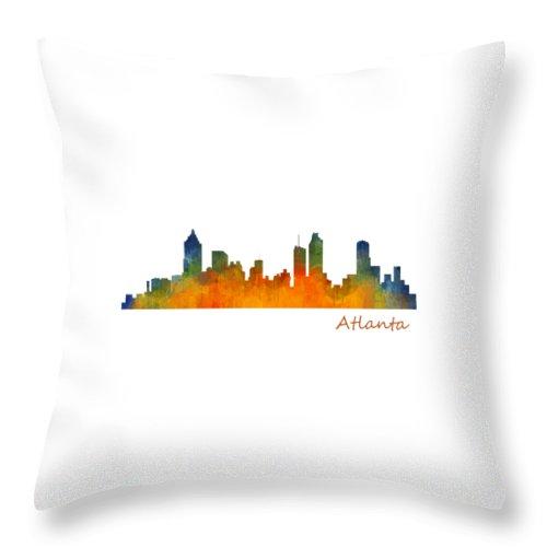 Atlanta Throw Pillow featuring the painting Atlanta City Skyline Hq V1 by HQ Photo