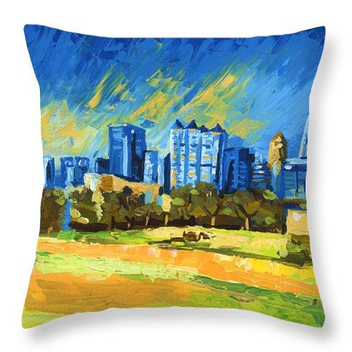 Atlanta Skyline Throw Pillow featuring the painting Atlanta Georgia Skyline 15 by Paul Kyegombe