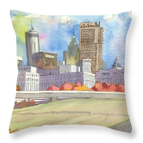 Atlanta Throw Pillow featuring the painting Atlanta Skyline Color by Scott Serafy