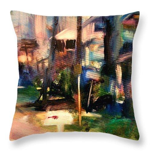Dornberg Throw Pillow featuring the painting Atlantic Ave Along The Ocean by Bob Dornberg