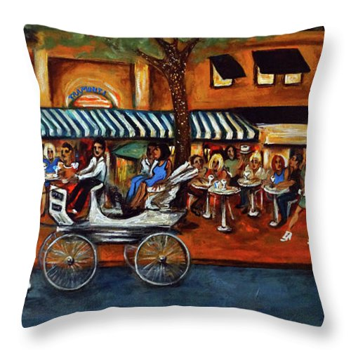 Horse & Buggy Throw Pillow featuring the painting Atlantic Avenue by Valerie Vescovi