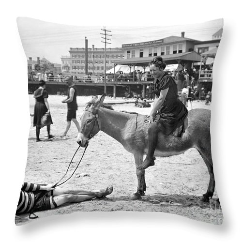 1901 Throw Pillow featuring the photograph Atlantic City: Donkey by Granger