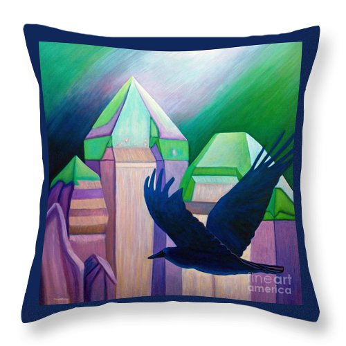 Crystals Throw Pillow featuring the painting Atlantis by Brian Commerford