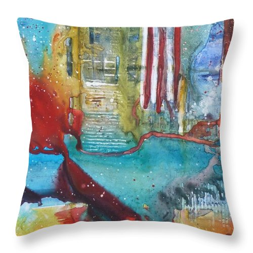 Abstract Throw Pillow featuring the painting Atlantis Crashing Into The Sea by Ruth Kamenev