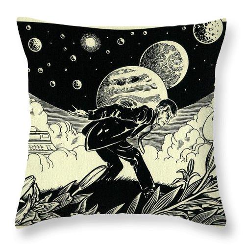 Atlas Throw Pillow featuring the drawing Atlas by Lance Miyamoto