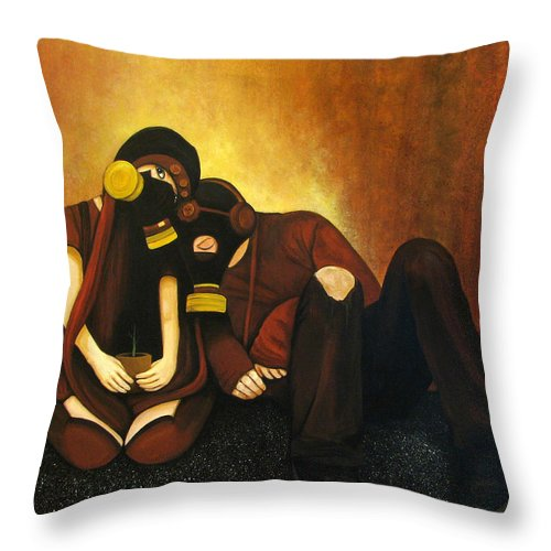 Gas Masks Guy Girl Earth Tones Sick Plant Throw Pillow featuring the painting Atomization Of Society by Beth Waltz