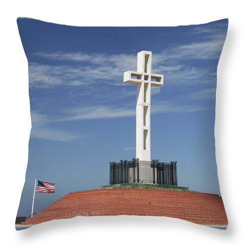 Mt Soledad Throw Pillow featuring the photograph Atop Mt Soledad by Margie Wildblood