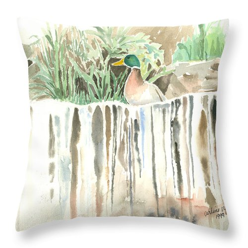 Waterfall Throw Pillow featuring the painting Atop The Waterfall by Arline Wagner