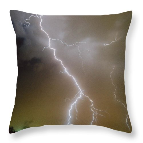Lightning Throw Pillow featuring the photograph Attack Mode by Cathy Franklin