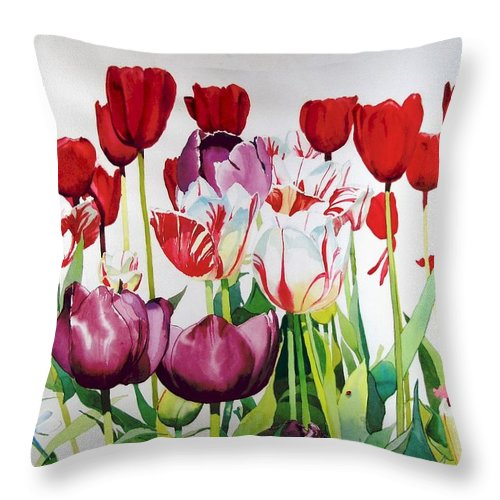 Tulips Throw Pillow featuring the painting Attention by Elizabeth Carr