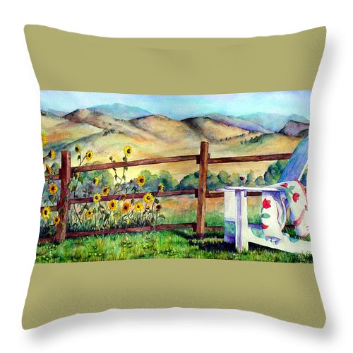 Adirondack Chair Throw Pillow featuring the painting Attitude Adjustment by Mary Giacomini