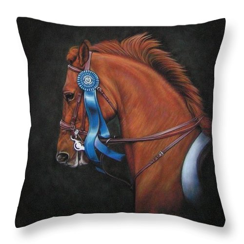 Horse Throw Pillow featuring the painting Attitude by Yvonne Hazelton