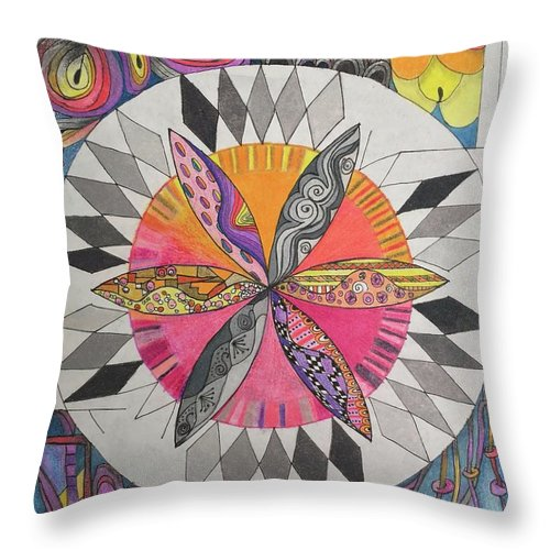 Colored Pencil Throw Pillow featuring the drawing Attracted by Suzanne Udell Levinger