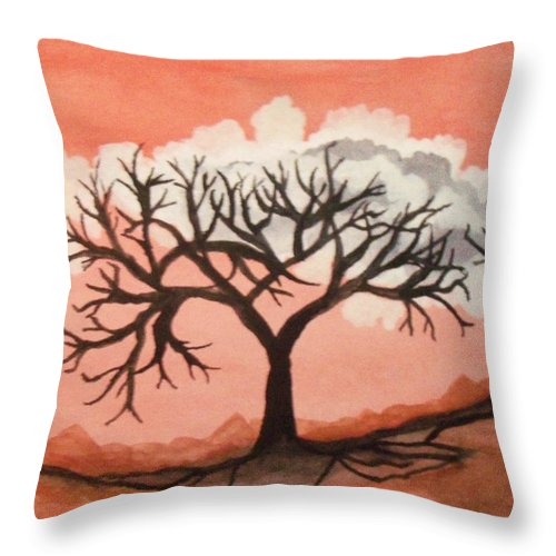 Orange Sky Throw Pillow featuring the painting Atumn Trees by Connie Valasco